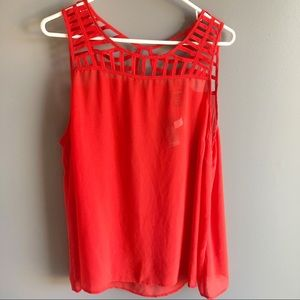 Torrid Red Chiffon Strappy Cut Out Tank Top